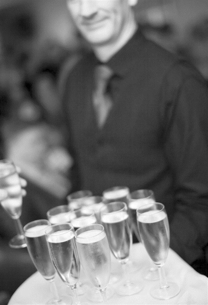 black white shot of champage canapes_690x1014